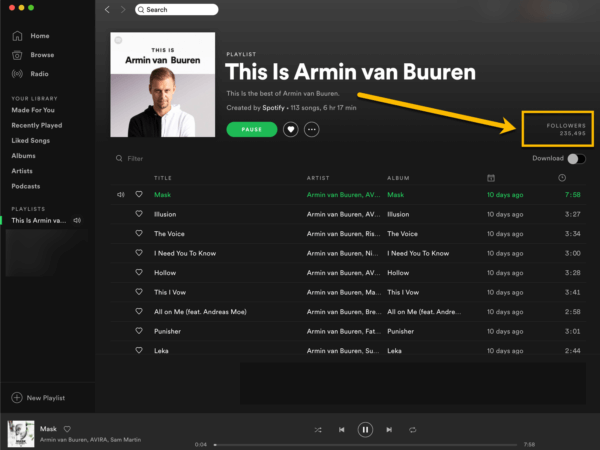 Showing where to find playlist follower counts in the Spotify desktop app
