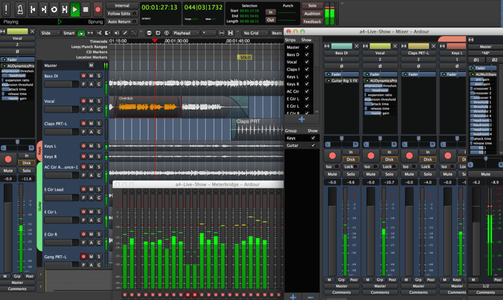 Ardour is a full-featured music production program but it's not pretty to look at