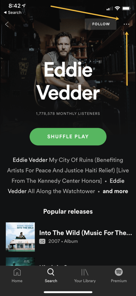 Eddie Vedder's artist profile in the iOS Spotify app