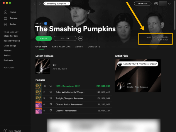 Spotify desktop app showing monthly listeners metric